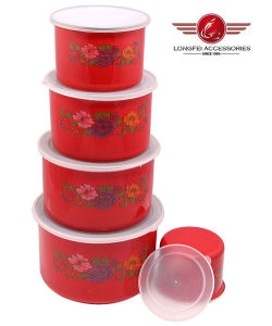 Red Color 5PCS High Enamel Storage Bowl Set with PP Lid pictures & photos