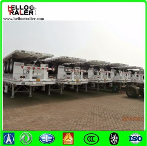 40FT Tri-Axle Flatbed Container Truck Trailer with Container Twist Locks pictures & photos