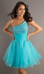Beaded Tulle One Shoulder Style Short Prom Dresses (PD3031) pictures & photos