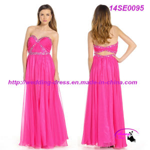 Rose Strapless Sweetheart Chiffon Evening Gown pictures & photos