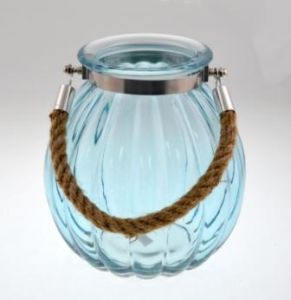 Light Blue Glass Candle Holder with Handle pictures & photos