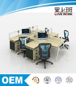 T-Shaped Office Desk Office Workstation for 4 People