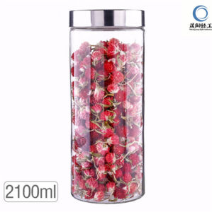 Cylinder Food Storage Glass Jar with Metal Lid pictures & photos