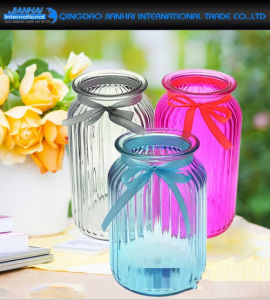 Hand-Blown Strip Spraying Color Glassware Vase for Hotel pictures & photos