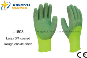 Polyester Shell Latex 3/4 Coated Safety Work Glove (L1603) pictures & photos