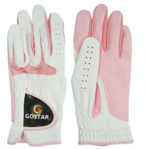 Ladies′ Pink Indonisia Cabretta Golf Glove (CGL-23) pictures & photos