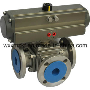 Pneumatic 3 Way Ball Valve, 180 Degree Pneumatic Actuator Three Way Ball Valve pictures & photos