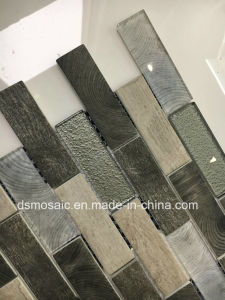 Newest Technology Interlocking Gray Wooden Glass Mosaic Tile pictures & photos