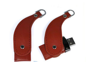 Crescent Moon Shape Leather USB Drive, Swivel Shape pictures & photos
