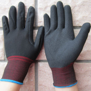 Nitrile Sandy Dipped on Polyester Gloves Working Glove pictures & photos