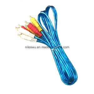 Blue Color Transparent 3r-3r/3RCA/RCA Cable with Al Foil pictures & photos