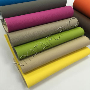 PVC Breathable Synthetic Leather for Sofa with Litchi Stria pictures & photos
