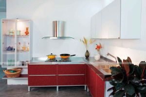Kitchen Furniture Red High Gloss Finished PVC Kitchen Cabinet Cheap Kitchen Cabinet pictures & photos