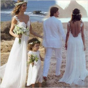 Beach Wedding Dress Lace Vestidos Chiffon Backless Bridal Gown Wd15219 pictures & photos