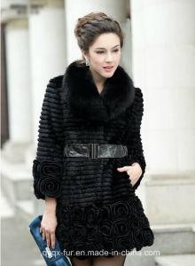 Lady′s Fashion Rabbit Fur Flower Long Coat Witrh Fox Fur Collar pictures & photos