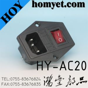 New Style Hot Sale AC Power Jack with on-off Red Button Switch (HY-AC20) pictures & photos