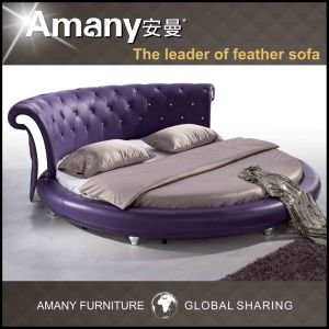 Luxury Leather Round Bed with Crystal (T1111P)