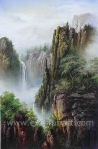 Huge Waterfall Landscape Oil Painting (ETL-103) pictures & photos