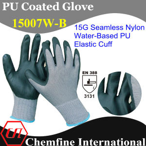 15g Nylon Knitted Glove with Water-Based PU Coating & Elastic Cuff pictures & photos