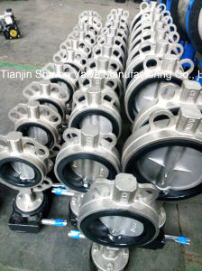 API/JIS/DIN Stainless Steel Wafer Butterfly Valve with Gear Operator pictures & photos
