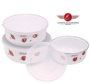 New Decal Enamel Ice Bowls Food Storage Box with PP Lid pictures & photos