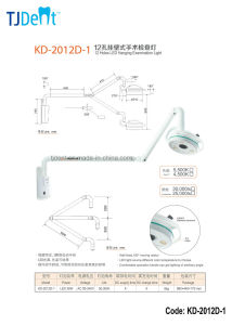 Dental Shadowless Wall Hanging Operation Medical Light Lamp (KD-2012D-1) pictures & photos