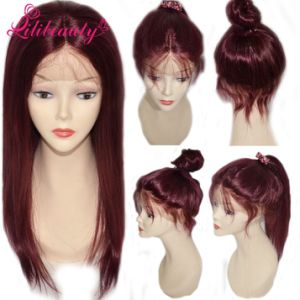 Medium Size Lace Front Wig #99j Human Hair Wigs with Baby Hair pictures & photos