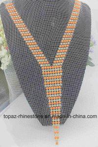 Fashion Hyacinth Resin Beaded Neckline Motif Sew on Black Mesh (TA-018) pictures & photos