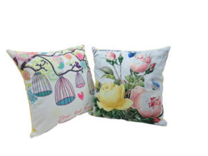 Flower Pinted Square Cushion