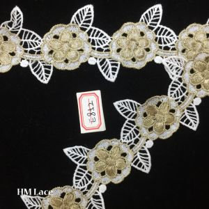 7cm Flower Floral Gold Embroidery Lace Trim for Wedding Bridal Garter Headband Dress Lace Hme852 pictures & photos