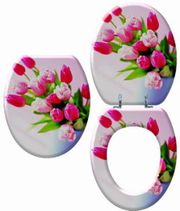 Three Sides Printed Moulded Wood Toilet Seat pictures & photos