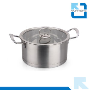 304 Stainless Steel Right Angle Soup Pot with Two Handle pictures & photos