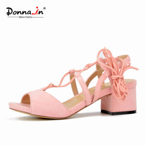 Lady Casual Lace-up Chunky Heels Women Sandals Shoes (DDP CIF) pictures & photos