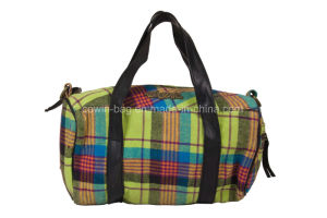 Checked Cotton Made Ladies Daily Weekender Travel Barrel Bag pictures & photos