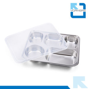 5 Comparments Stainless Food Tray with Lid pictures & photos