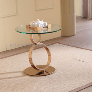 Fancy Rose Golden Stainless Steel Glass Side Table pictures & photos