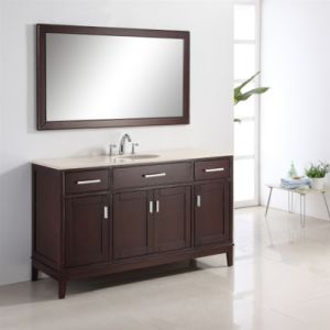 Waterproof Solid Wood Floor Stand Bathroom Vanity pictures & photos