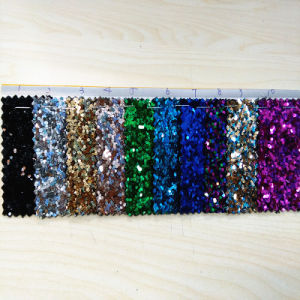 Mesh Pattern T/C Backing Glitter PU Leather for Shoes (HS-M172) pictures & photos