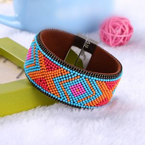 Fashion Beads Braided Magnetic Bangle Leather Bracelet Jewelry pictures & photos
