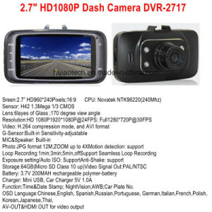 "Cheap 2.7"" HD1080p&720p Car Camera Digital Video Recorder Dash Camera Built-in G-Sensor, 120degree View Angle, 4G 1.3mega Lens, 4PCS LED Car DVR-2727 pictures & photos"