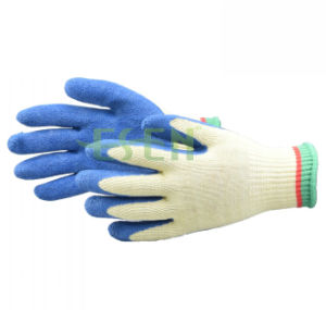 10 Gauge Bleach Cotton/Polyester Liner blue Rubber Coated on Palm Work Glove pictures & photos