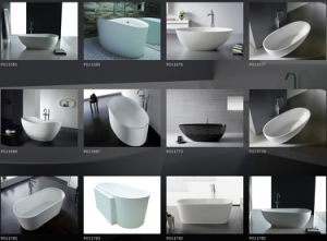 White Solid Surface Resin Stone Bathtub pictures & photos