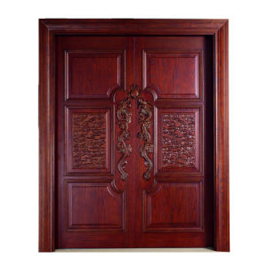 Solid Walnut Double Leaf Temple Front Entry Door (GSP1-036) pictures & photos