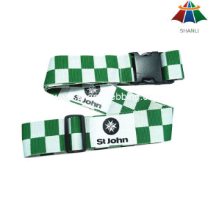 "High-Quality Polyester 2"" Green & White Square Luggage Strap with Plastic Buckle pictures & photos"