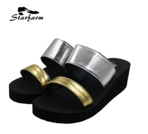 Metallic Silver PU Women Sandals for Promotion