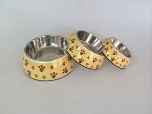 Yellow Footprint Pattern Melamine&Stainless Steel Pet Dog Food Bowl pictures & photos