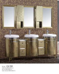Middle East Stainless Steel Golden Bathroom Vanity with Triple Basins/Sinks pictures & photos