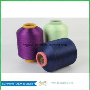 100% Dope Dyed Polyester Yarn DTY 150d 48f Nim for Home Textile Production pictures & photos