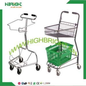 Convenient Store Double Baskets Shopping Cart Trolley pictures & photos
