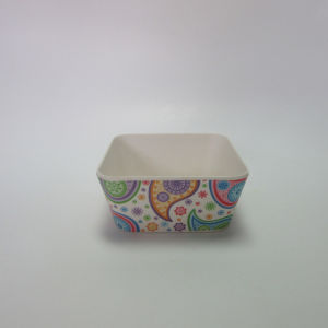 Bamboo Fiber Small Square Bowl Salad Bowl Soup Bowl Paisley Design Tableware pictures & photos